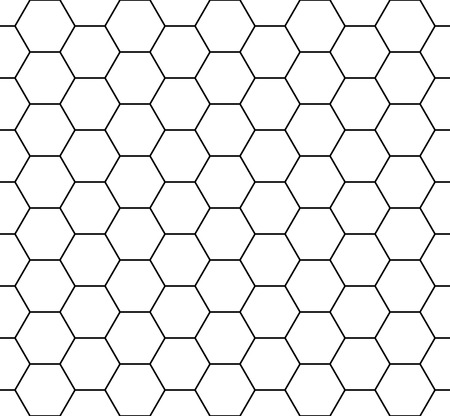 Ilustración de Vector modern seamless geometry pattern hexagon, black and white honeycomb abstract geometric background, subtle pillow print, monochrome retro texture, hipster fashion design - Imagen libre de derechos