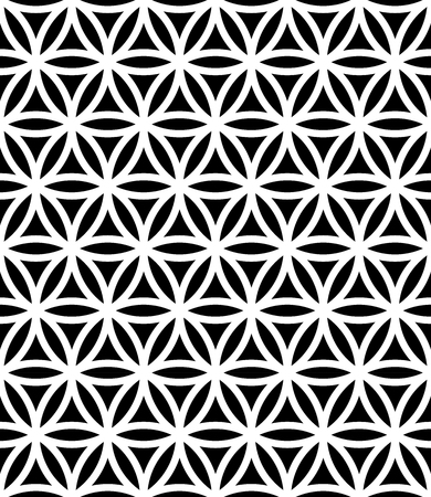 Illustration pour Vector modern seamless sacred geometry pattern flower of life, black and white abstract geometric background, subtle pillow print, monochrome retro texture, hipster fashion design - image libre de droit