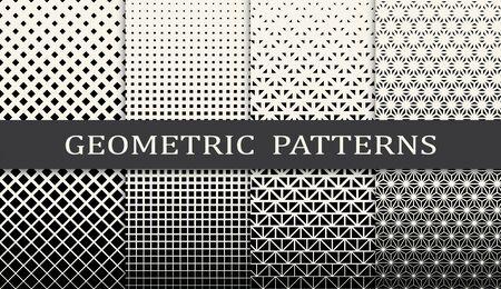 Illustration for black and white geometric seamless halftone pattern set - Royalty Free Image