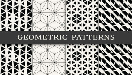 Illustration pour Set of geometric seamless patterns. Abstract memphis style graphic design pattern. Seamless memphis style pattern. - image libre de droit