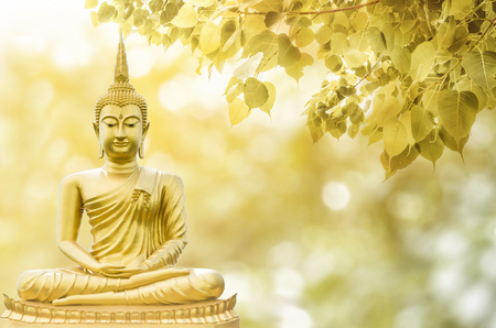 Photo for Magha Asanha Visakha Puja Day , Buddha statue , bodhi leaf with double exposure and len flared , soft image and soft focus style - Royalty Free Image