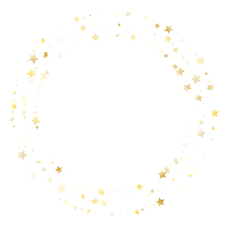 Illustration for Flying gold star sparkle vector with white background. Abstract gold gradient christmas sparkles glitter geometric star pattern. Birthday starlight poster backdrop. - Royalty Free Image