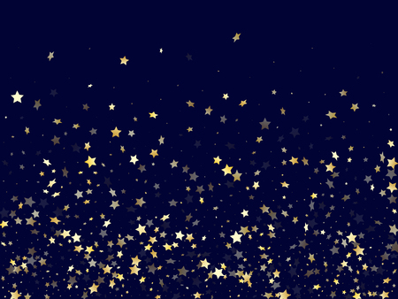 Illustration pour Gold falling star sparkle elements of glitter gradient vector background. Beautiful confetti gold stars falling glitter gradient sparkles on dark blue. Birthday starlight poster backdrop. - image libre de droit