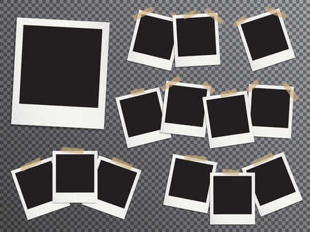 Ilustración de Blank photo frames set hanging on adhesive tape vector realistic illustration. EPS10 mockups. Retro photo frame templates. Glued with duct tape vintage instant photoframes with blank pictures place. - Imagen libre de derechos