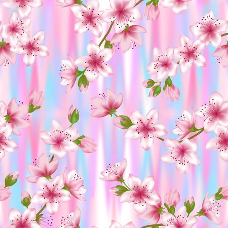 Japanese Cherry Blossom Sakura Branches Vector Seamless