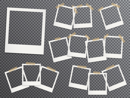 Illustration for Blank photo frames set hanging on adhesive tape vector realistic illustration. EPS10 mockups. Retro photo frame templates. Glued with duct tape vintage instant photoframes with blank pictures place. - Royalty Free Image