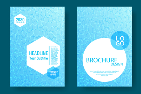 Illustration for World Oceans Day brochure cover templates vector set. Earth Day flyers with clean ocean water caustics ripple pattern. Banner, cover, poster, flyer layouts. Turquoise wavy ripple background. - Royalty Free Image