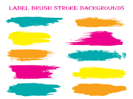 Illustration for Futuristic label brush stroke backgrounds, paint or ink smudges vector for tags and stamps design. Painted label backgrounds patch. Interior paint color palette swatches. Ink smudges, teal spots. - Royalty Free Image
