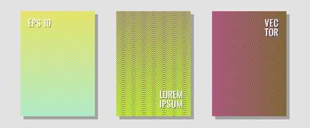Halftone gradient texture vector cover layouts. Business folders branding. Zigzag halftone lines wave stripes backdrops. Digital collection. Multiple lines cool gradient texture backgrounds.