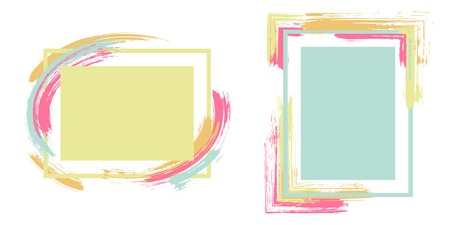 Illustration pour Watercolor frames with paint brush strokes vector collection. Box borders with painted brushstrokes backgrounds. Advertising graphics design flat frame templates for banners, flyers, posters, cards. - image libre de droit