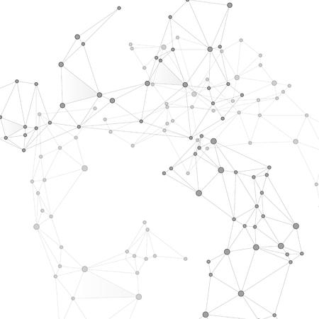 Illustration pour Block chain global network technology concept. Network nodes greyscale plexus background. Net grid of node points, lines matrix. Global data exchange blockchain vector. Information analytics graphics. - image libre de droit