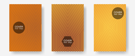 Brochure covers, posters, banners vector templates. Modern branding. Halftone lines annual report templates. Stylish print pages. Geometric graphic design for booklet brochure covers.