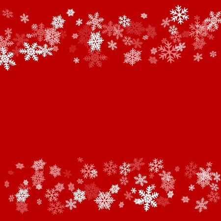 Illustration pour Winter snowflakes border simple vector background.  Many snowflakes flying border design, holiday banner with flakes confetti scatter frame, snow elements. Cold season winter symbols. - image libre de droit