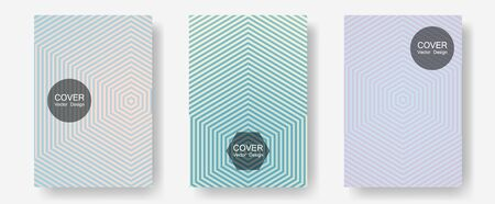 Geometric design templates for banners, covers. Modern branding. Halftone lines annual report templates. Neoteric composition. Halftone brochure lines geometric design set.