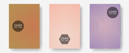 Halftone flat patterns abstract vector set. Minimal booklets. Halftone lines annual report templates. Neoteric composition. Geometric covers of lines gradient flat patterns.