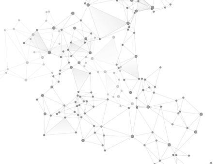 Big data cloud scientific concept. Network nodes greyscale plexus background. Information analytics graphics. Tech vector big data visualization cloud structure. Fractal hub nodes connected by lines.