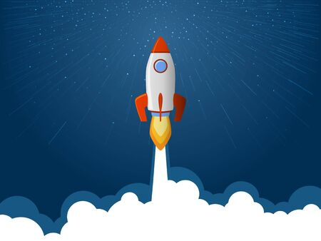Ilustración de Rocket spaceship launch to stars into the blue sky space. Fire flame and smoke path. Business start up concept. Red white rocket shuttle launch, spaceship flight vector illustration. Rocket flying. - Imagen libre de derechos