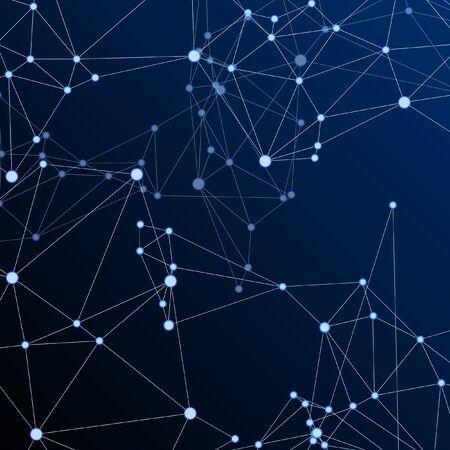 Illustration pour Big data cloud scientific concept. Network nodes plexus dark blue background. Tech vector big data visualization cloud structure. Future perspective backdrop. Interlinkes nodes cells random grid. - image libre de droit