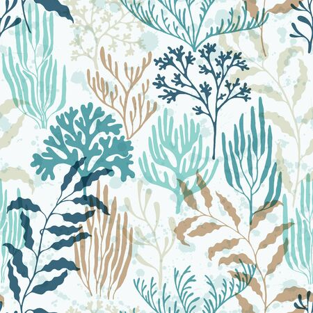 Illustration pour Ocean corals seamless pattern. Kelp laminaria seaweed algae background. Ocean depth undersea bottom coral reef flourish. Underwater plants textile print vector design. Organic botanical pattern. - image libre de droit