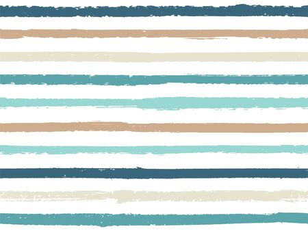 Illustration pour Hand drawn striped seamless pattern vintage background for sailor. Ink stripes in watercolor style vector. Modern fashion texture linen textile background. Cool seamless striped pattern. - image libre de droit