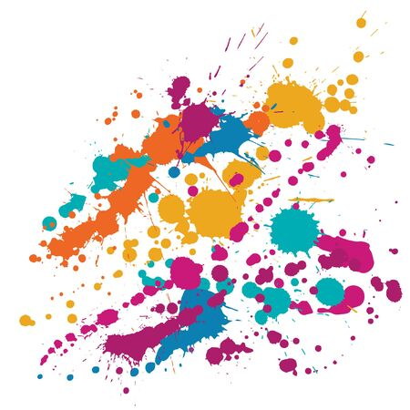 Illustration for Watercolor paint stains grunge background vector. Hipster ink splatter, spray blots, dirty spot elements, wall graffiti. Watercolor paint splashes pattern, smear fluid stains splatter background. - Royalty Free Image