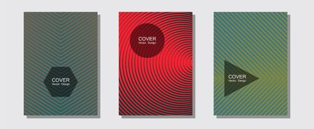 Halftone flat patterns abstract vector set. Elegant patchy mockups. Halftone lines music poster background. Hipster placards. Geometric covers of lines gradient flat patterns.