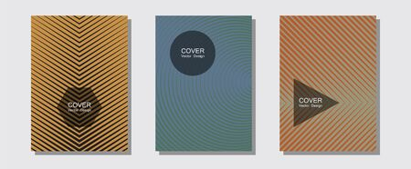 Halftone flat patterns abstract vector set. Digital collection. Halftone lines music poster background. 2d grid composition. Geometric covers of lines gradient flat patterns.