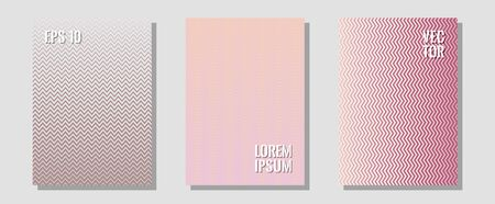 Halftone gradient texture vector cover layouts. Trendy magazines. Zigzag halftone lines wave stripes backdrops. Neoteric composition. Multiple lines cool gradient texture backgrounds.