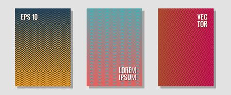 Halftone gradient texture vector cover layouts. Laconic nifty mockups. Zigzag halftone lines wave stripes backdrops. Music placards. Multiple lines cool gradient texture backgrounds.