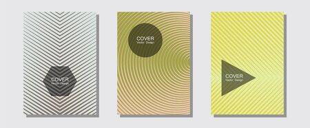 Cool flyers set, vector halftone poster backgrounds. Neoteric composition. Halftone lines music poster background. Minimal booklets. Geometric lines shapes patterns set for flyer design.
