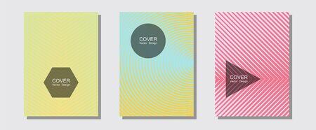 Cool flyers set, vector halftone poster backgrounds. Modern branding. Halftone lines music poster background. Technicolor composition. Geometric lines shapes patterns set for flyer design.
