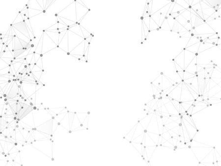 Illustration pour Big data cloud scientific concept. Network nodes greyscale plexus background. Nodes and lines polygonal connections. Information technology design. Tech vector big data visualization cloud structure. - image libre de droit