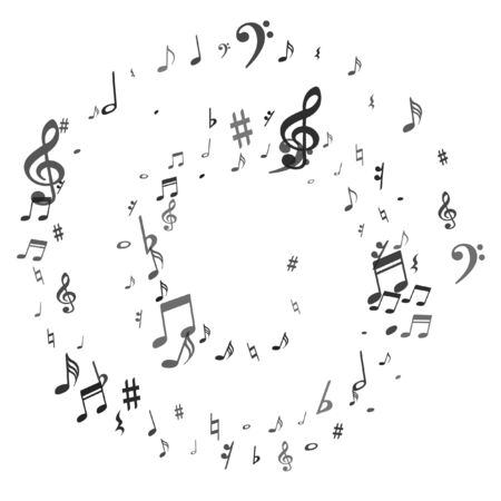 Illustration pour Black flying musical notes isolated on white backdrop. Fresh musical notation symphony signs, notes for sound and tune music. Vector symbols for melody recording, prints and back layers. - image libre de droit
