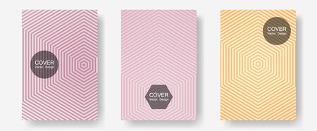 Geometric design templates for banners, covers. Musical album adverts. Halftone lines annual report templates. Hipster placards. Halftone brochure lines geometric design set.