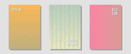 Geometric design templates for banners, covers. Laconic business cards. Zigzag halftone lines wave stripes backdrops. Modern branding. Halftone brochure lines geometric design set.