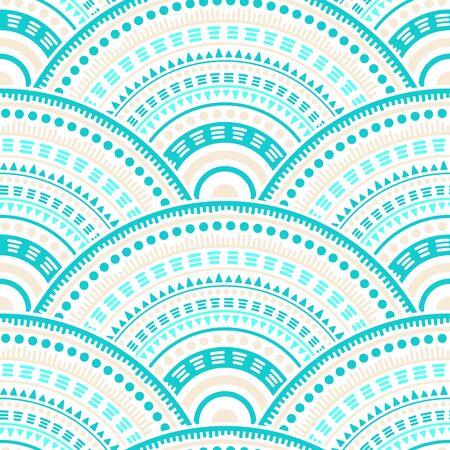 Illustration pour Chinese medallions mosaic textile ornament vector seamless pattern. Folk motifs handmade repeating scallops. Japanese folk circle mandala elements seamless geometric pattern. - image libre de droit