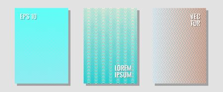 Banner graphics cool vector templates set. Minimalist geometry. Zigzag halftone lines wave stripes backdrops. Balanced posh mockups. Abstract banners graphic design with lined shapes.