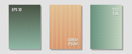Brochure covers, posters, banners vector templates. Simple book covers. Zigzag halftone lines wave stripes backdrops. Neoteric composition. Geometric graphic design for booklet brochure covers.