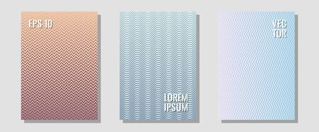 Brochure covers, posters, banners vector templates. Hipster placards. Zigzag halftone lines wave stripes backdrops. Liner faded gradation. Geometric graphic design for booklet brochure covers.