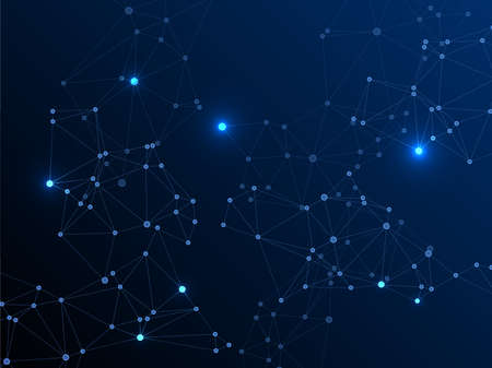 Illustration pour Big data cloud scientific concept. Network nodes plexus dark blue background. Wireframe minimal design. Circle nodes and line elements. Tech vector big data visualization cloud structure. - image libre de droit