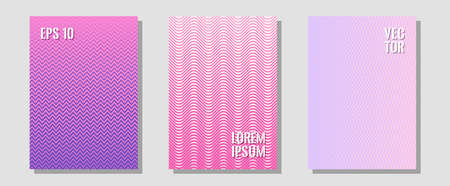 Abstract shapes of multiple lines halftone patterns. Hipster placards. Zigzag halftone lines wave stripes backdrops. Neoteric composition. Cool abstract shapes gradient texture backgrounds.