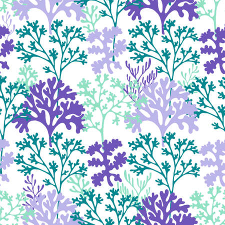 Illustration pour Coral reef underwater plans vector seamless pattern. Aquarium, ocean and marine algae water plants, corals textile print. Colorful organic corals and polyps silhouettes fabric repeating pattern. - image libre de droit