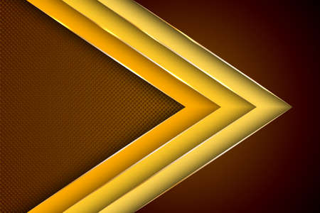 Photo pour Polygonal arrow with gold triangle edge lines banner vector design. Rich business background template. Futuristic cover graphic design. Gold metallic edge lines, gradient overlapping shapes. - image libre de droit