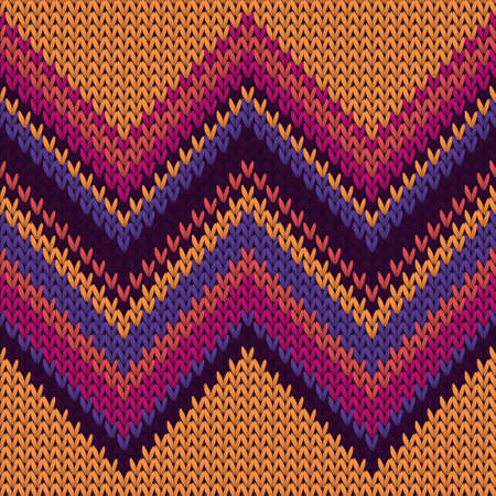 Illustration pour Handmade zig zal lines christmas knit geometric seamless pattern. Plaid knit tricot  fabric print. Norwegian style seamless knitted pattern. Winter holidays wallpaper. - image libre de droit
