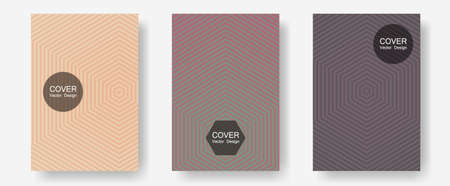 Banner graphics cool vector templates set. Elegant patchy mockups. Halftone lines annual report templates. Digital collection. Abstract banners graphic design with lined shapes.
