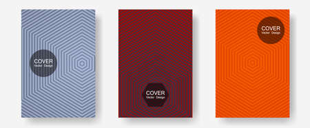 Abstract shapes of multiple lines halftone patterns. Simple book covers. Halftone lines annual report templates. Future mockups samples. Cool abstract shapes gradient texture backgrounds.