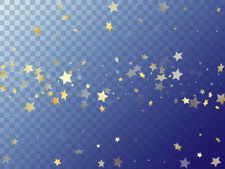 Illustration pour Star shining gold gradient sparkles on transparent background. Chaotic vector magic stars gold falling sparkles with gradient texture on transparent. Party confetti tinsels decor. - image libre de droit