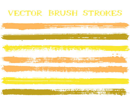 Illustration for Futuristic ink brush strokes isolated design elements. Set of paint lines. Distressed Ink brushe stripes isolated on white, vector color palette samples. - Royalty Free Image