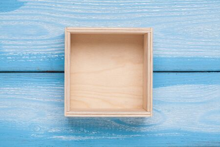 Photo for Wooden empty box on background. Top view. - Royalty Free Image