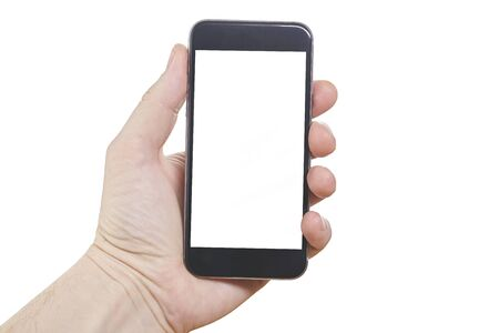 Photo for Human hand holding blank large mobile smart phone isolated on white background. - Royalty Free Image
